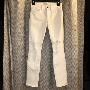Joe's mid rise white ripped skinny jeans